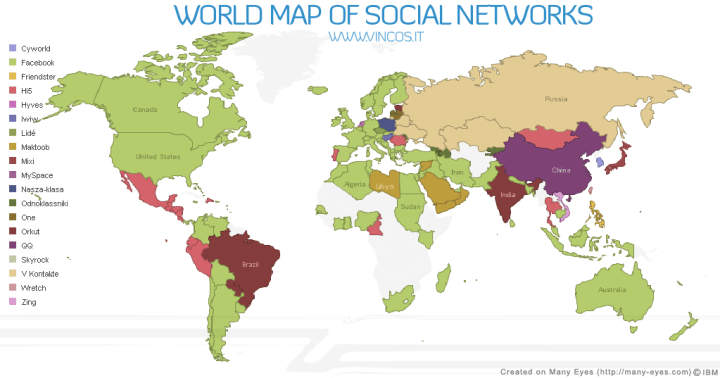 world map of social networks 2009