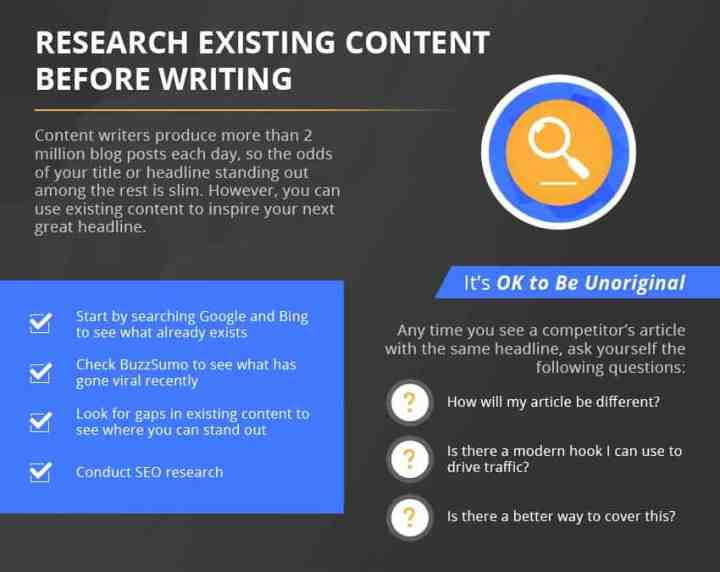Catchy Titles existing content infographic
