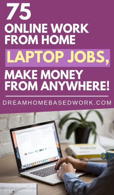 Are there any online work at home jobs that will allow you to use your laptop? Yes, indeed. Here's a list of 75 ways to make money online from anyhwere!