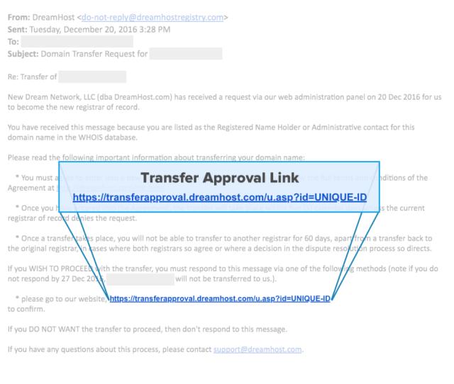 Transfer Approval Link