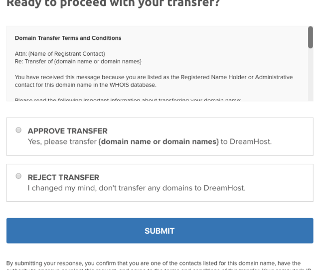 Transfer Approval Page