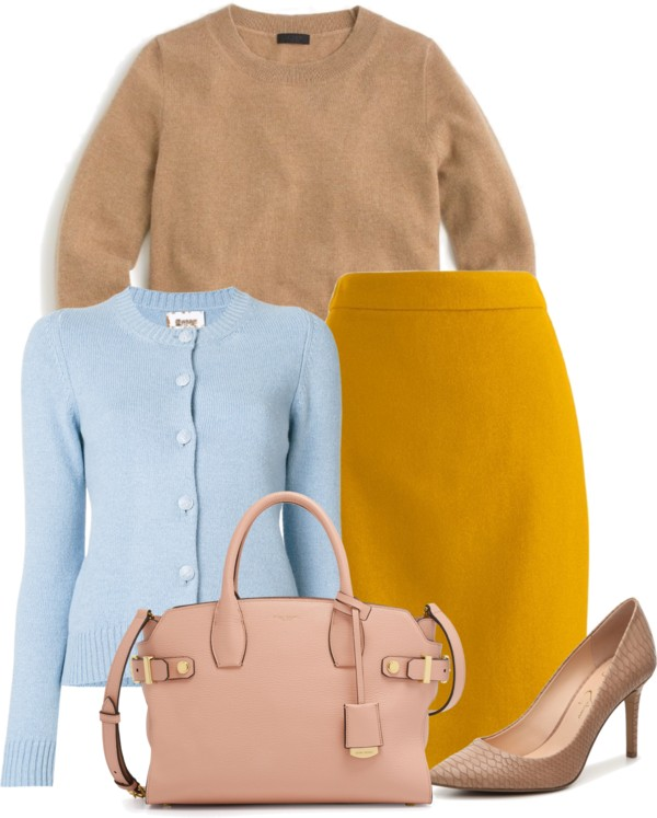 How-to-wear-light-blue-cardigan-with-mustard-and-cognac-by-dreaming-loud