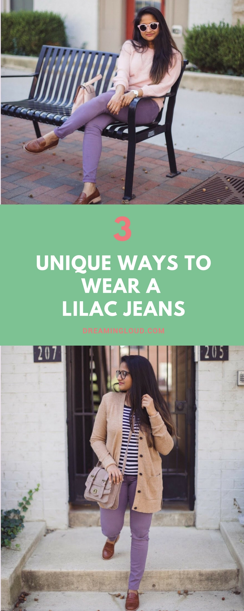 Lifestyle blogger Surekha of Dreaming Loud sharing 3 unique ways to wear lilac jeans