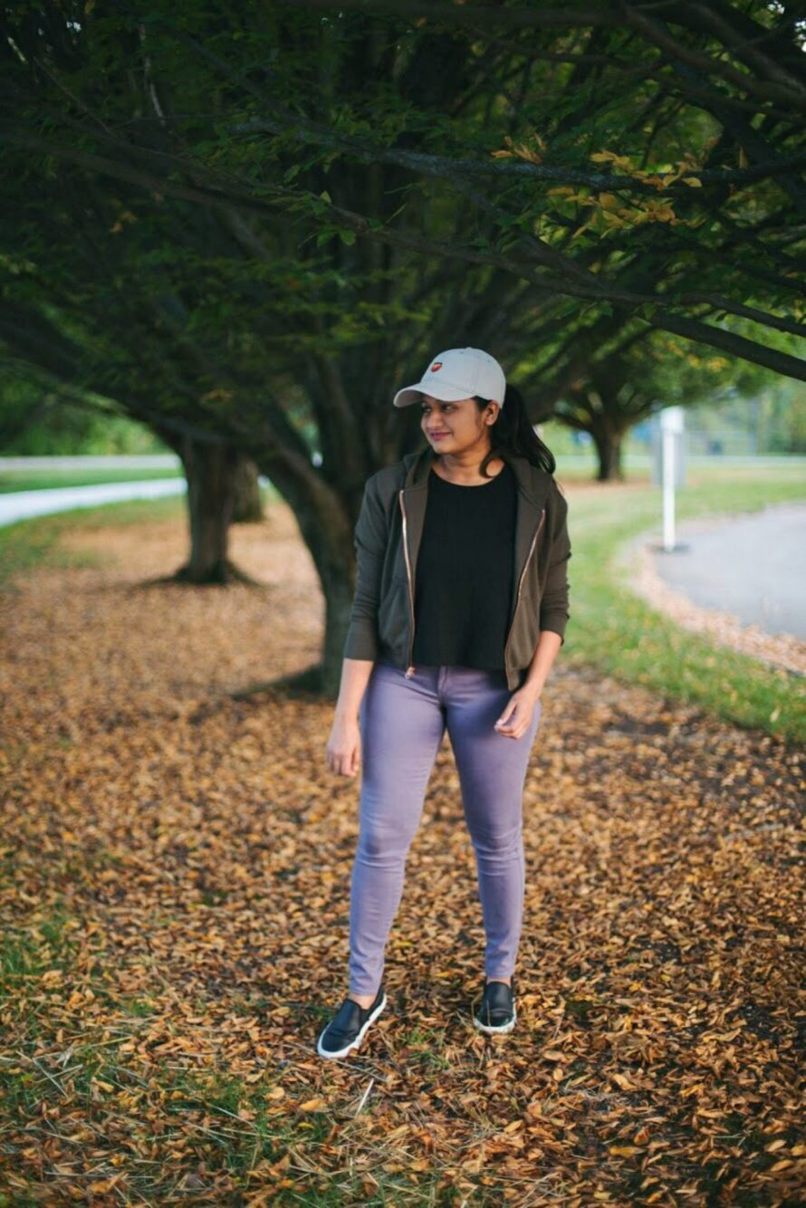 Lifestyle blogger Surekha of Dreaming Loud wearing lilac and olive color combo