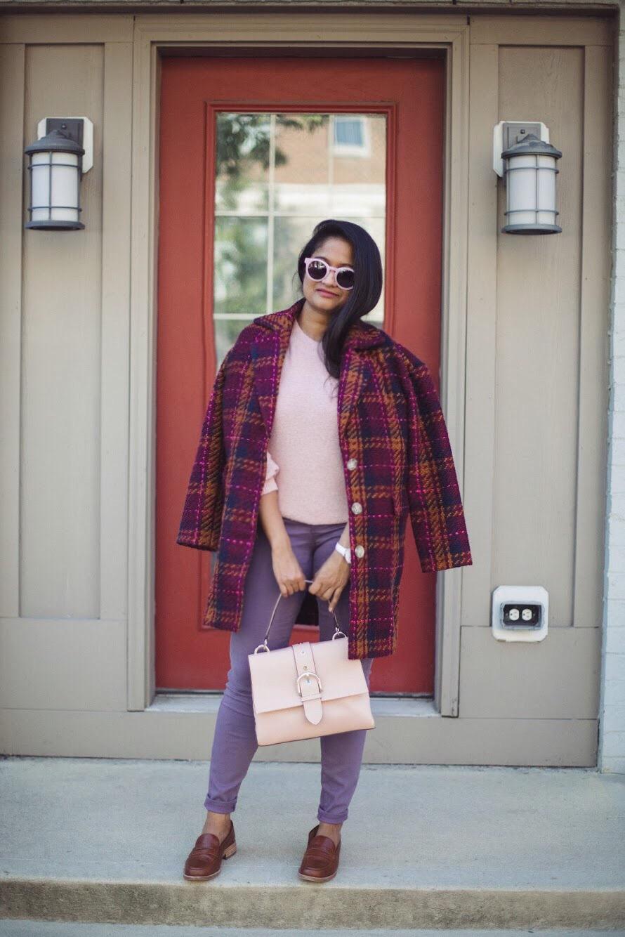 Lifestyle blooger Surekha of Dreaming Loud wearing Henri Bendel Riverside top handle satchel in rose
