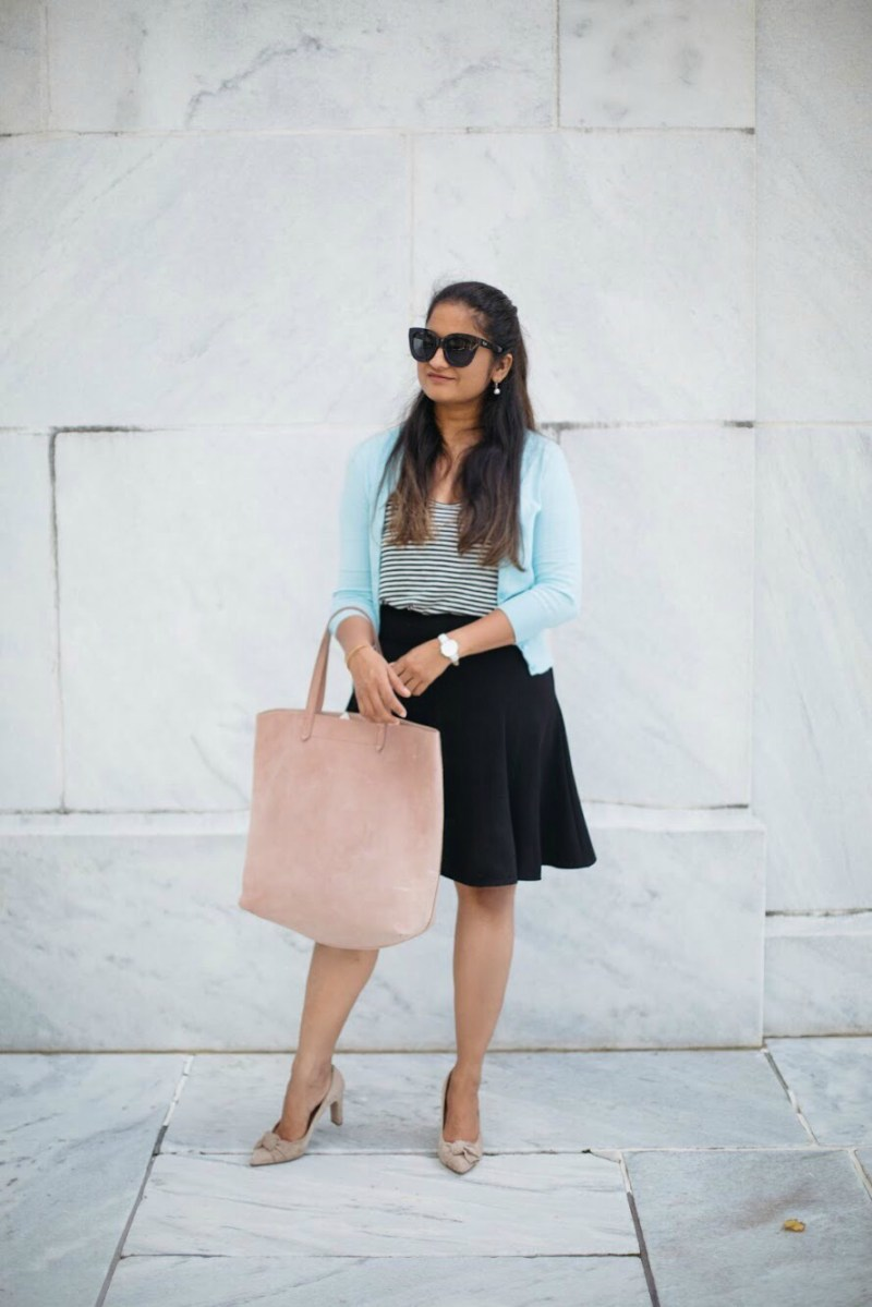 how-to-wear-light-blue-cardigan-with-black-and-stripes-by-dreaming-loud-5-2