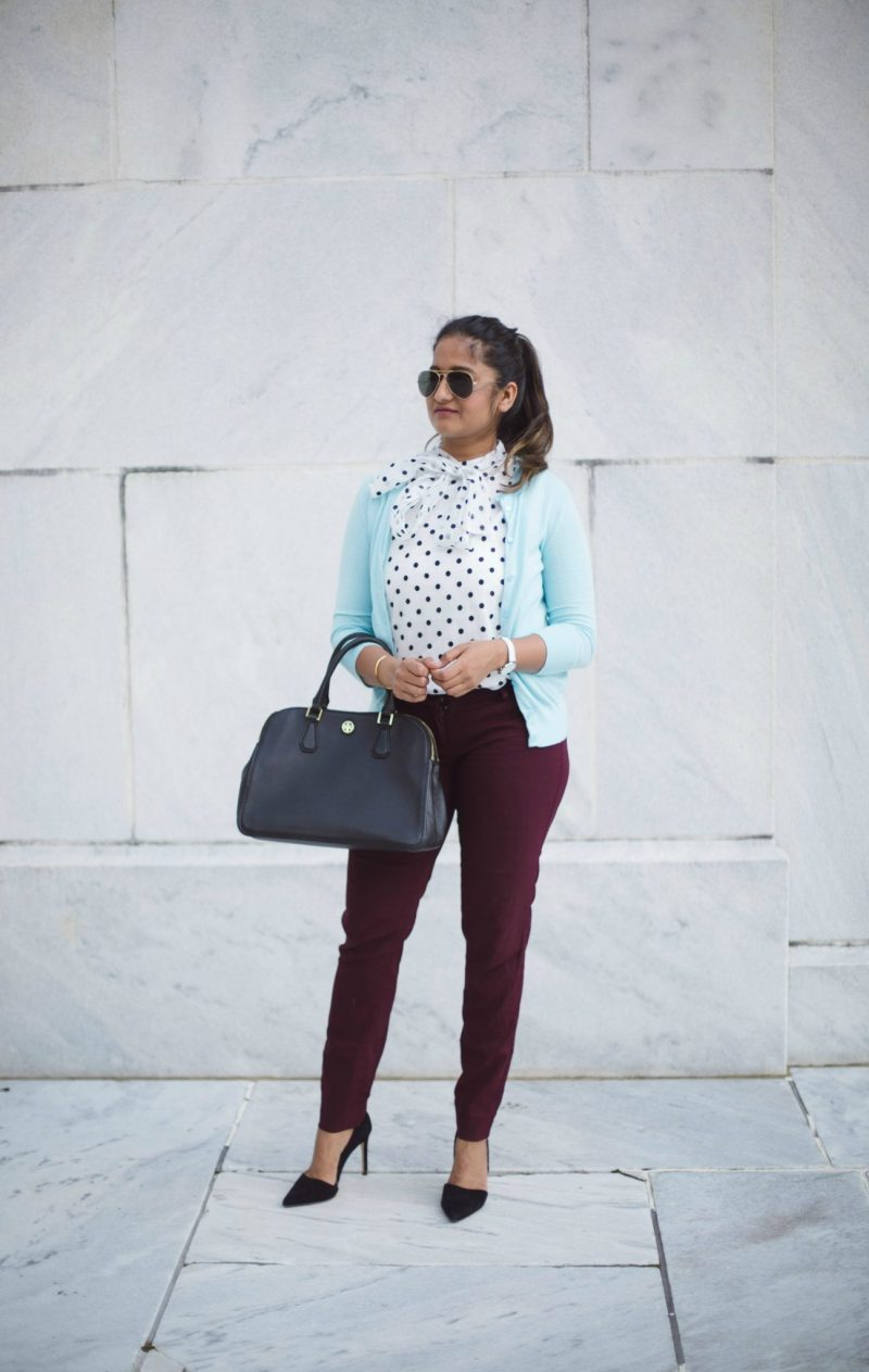 how-to-wear-light-blue-cardigan-with-polka-dot-and-burgundy-by-dreaming-loud-8