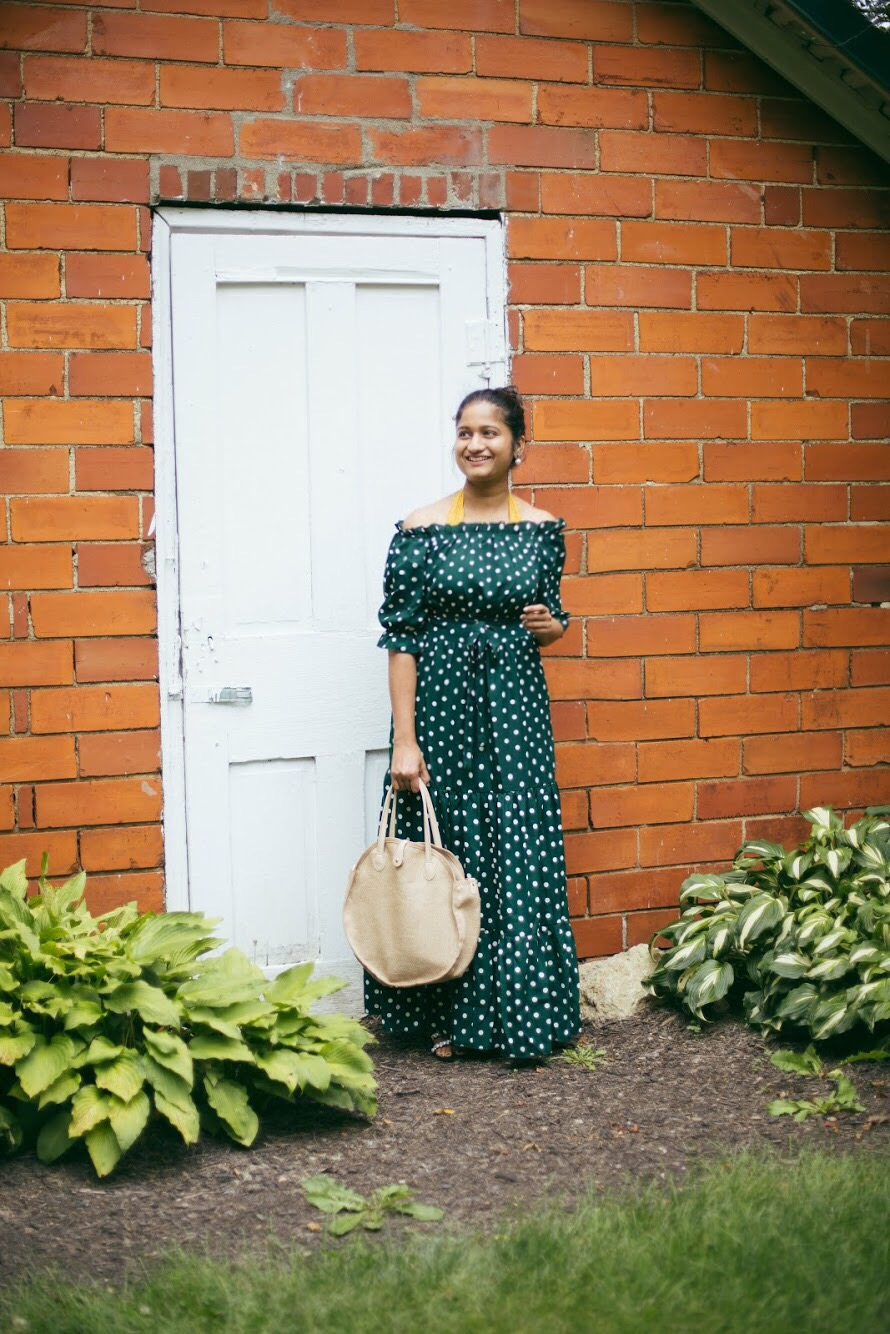 lifestyle-blogger-surekha-of-dreaming-loud-wearing-Shein-Polka-Dot Bardot-Neckline-Tie-Waist-Dress-1