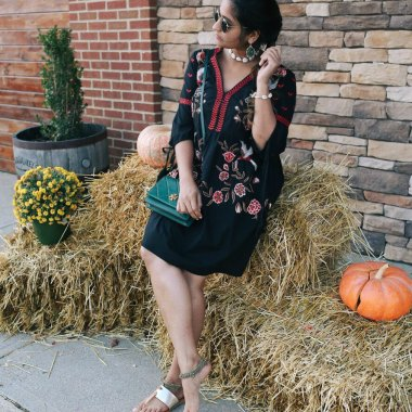 Lifestyle Blooger Surekha of Dreaming Loud Wearing River Island Embroidered Kimono Sleeve Dress