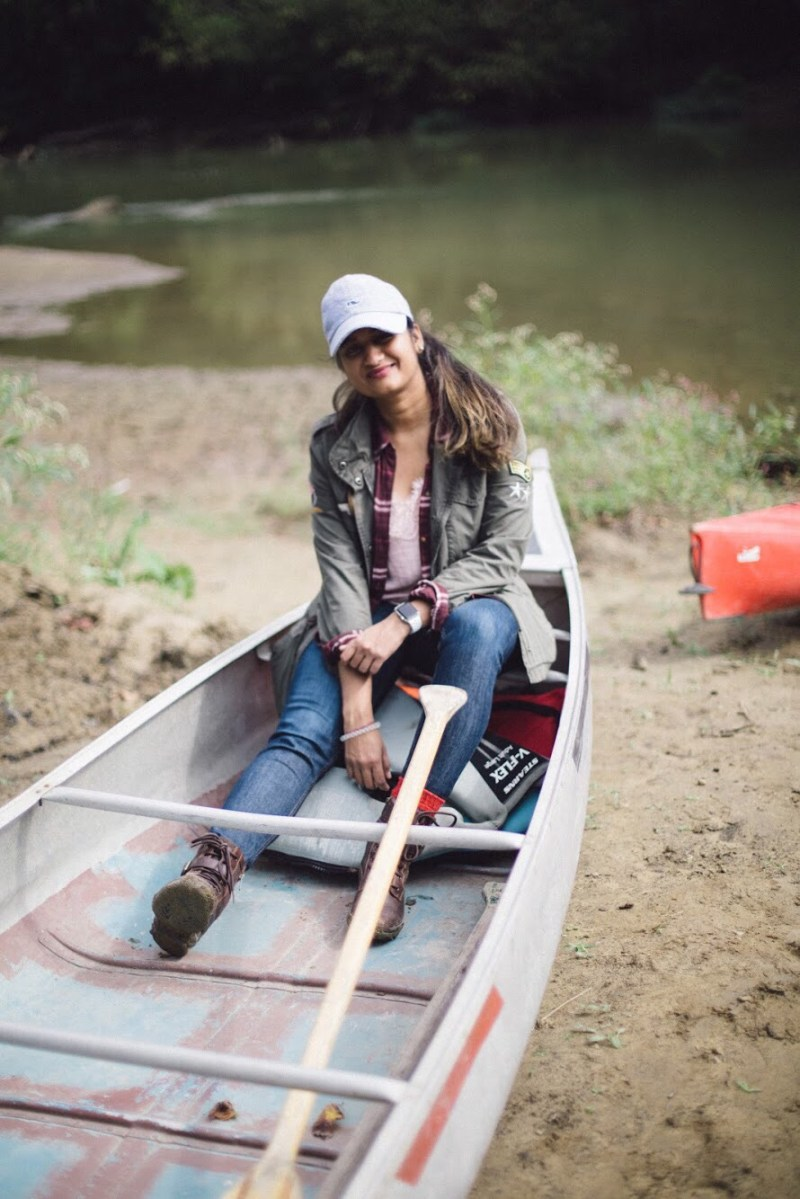 Lifestyle blogger Surekha of Dreaming Loud sharing what to wear for a fall camping trip