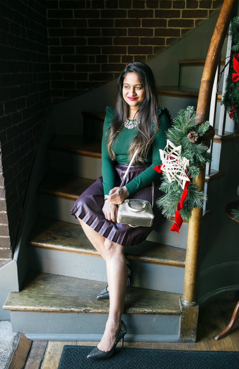 Lifestyle Blog Dreaming Loud Wearing Ann Taylor Shoulder Ruffle sweater in green