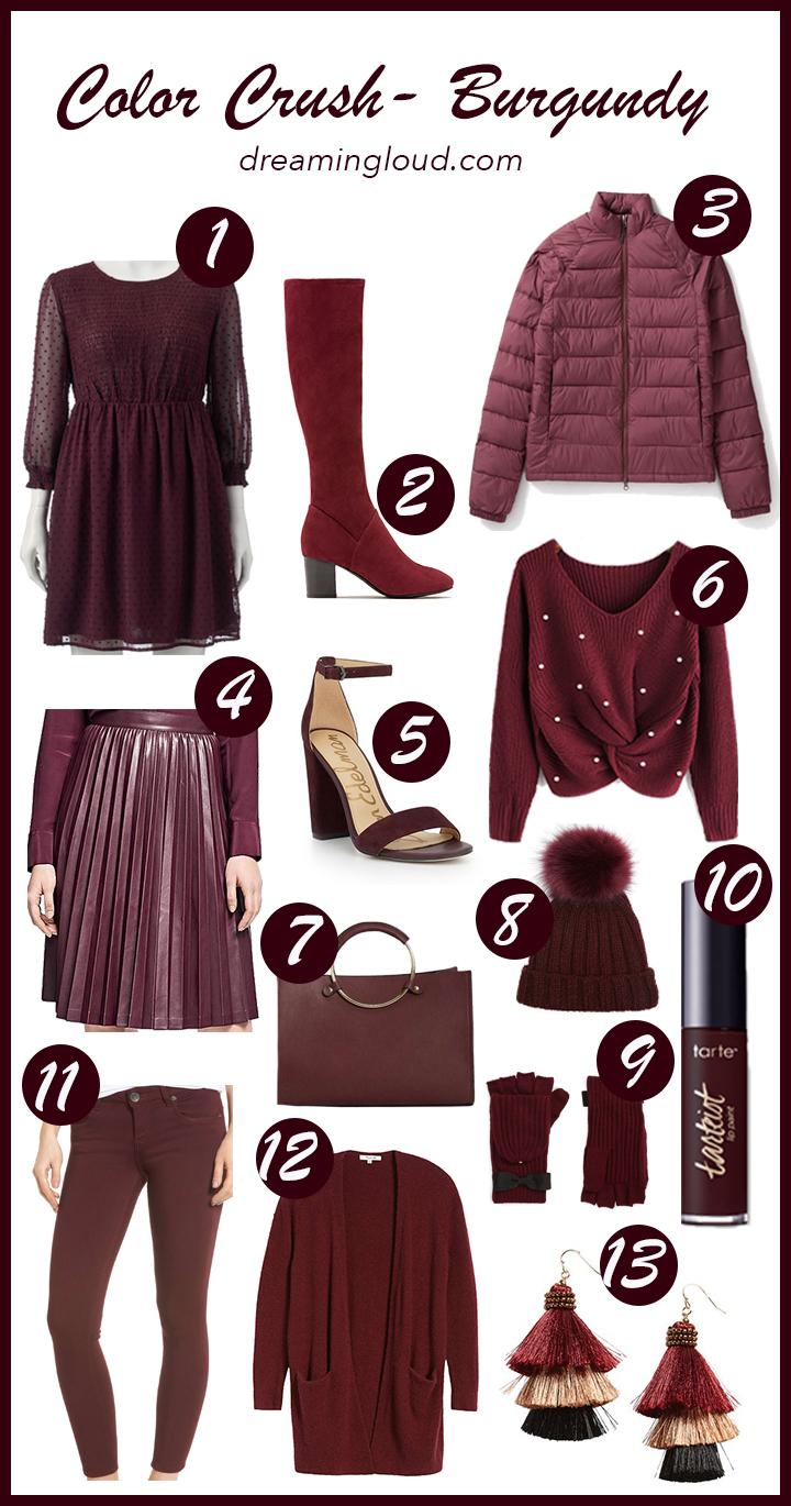 Lifestyle Blogger Surekha of Dreaming Loud Sharing Favorite Burgundy Pieces for Fall and Winter 2017