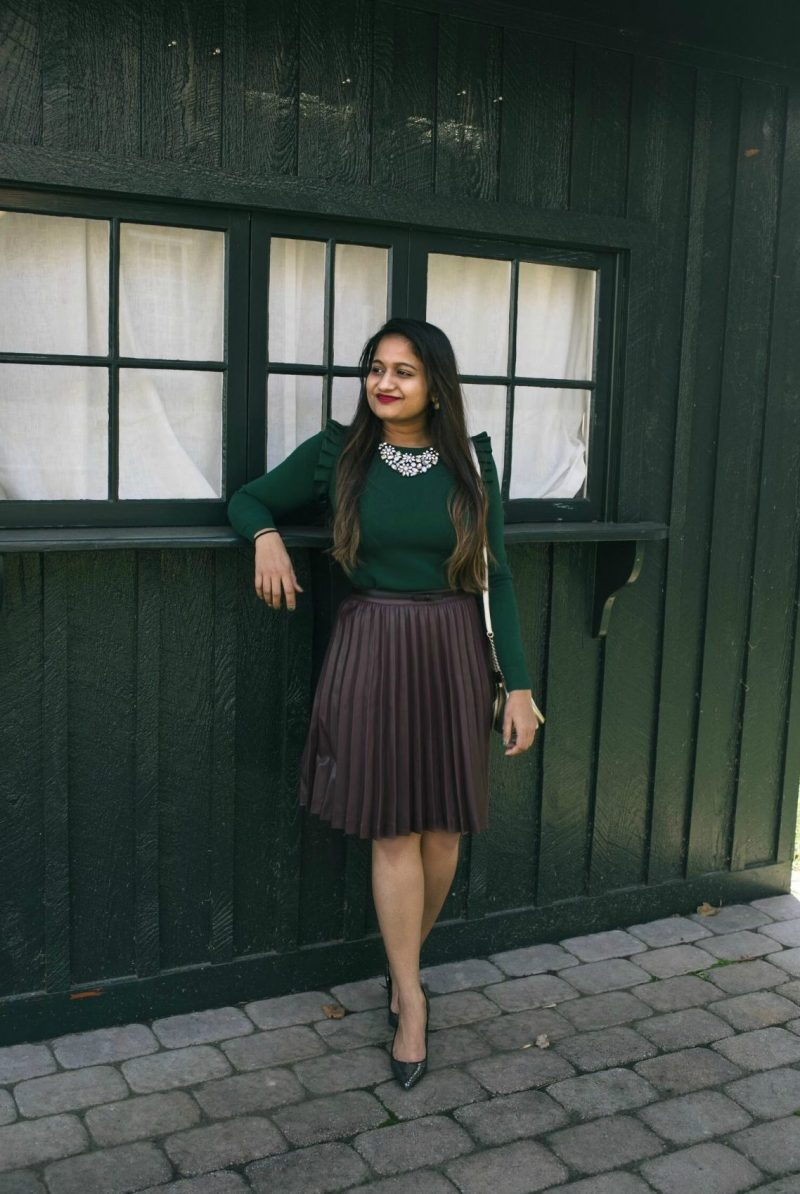 Lifestyle blog Dreaming Loud wearing brooks brothers leather pleated skirt in burgundy 1