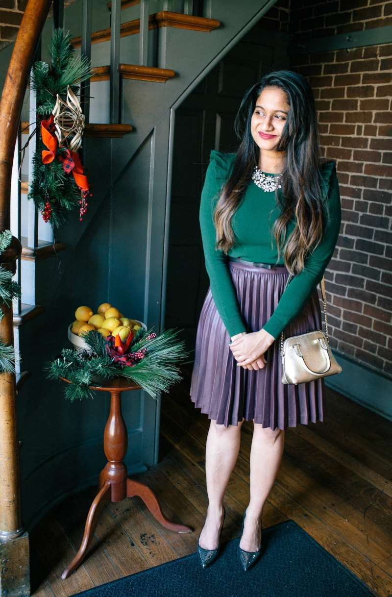Lifestyle blog Dreaming Loud wearing brooks brothers leather pleated skirt in burgundy