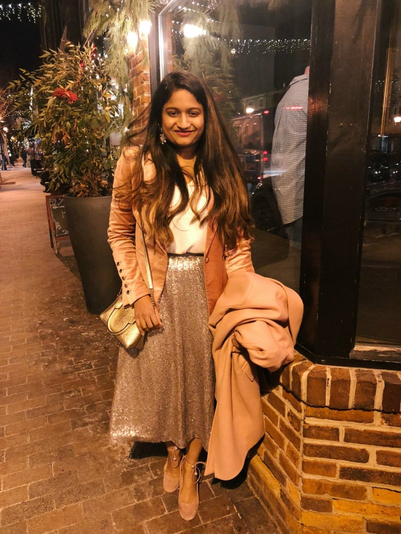 Lifestyle Blogger Surekha of dreaming loud sharing her New Years eve outfit 2018