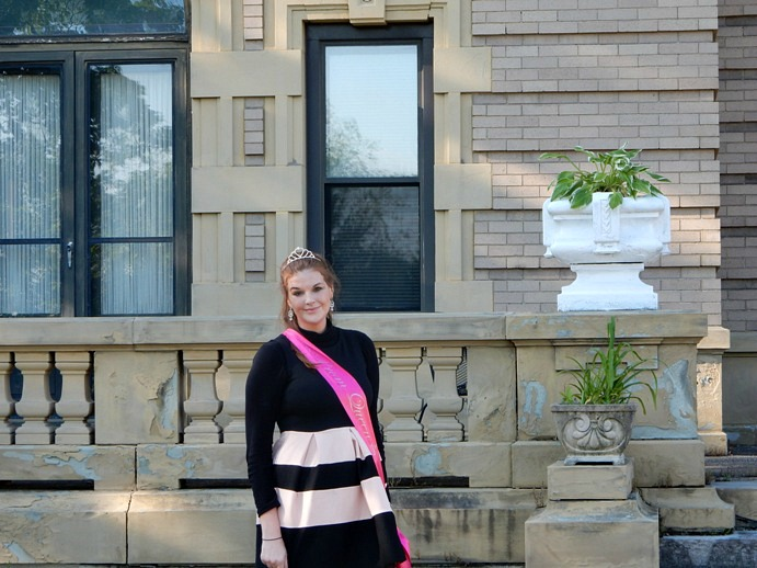 Blush and black striped fit-and-flare dress by Boohoo - Spring Wedding OOTD