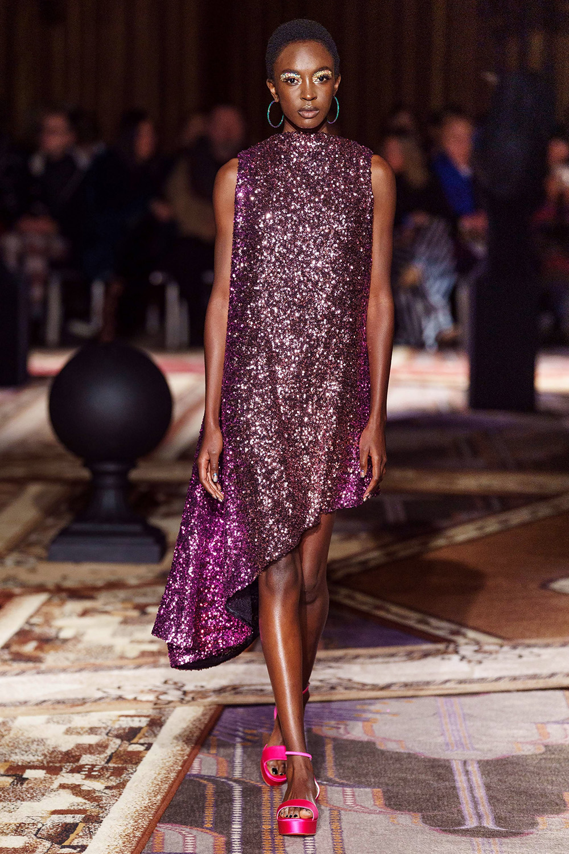Best London Fashion Week Looks Off the Fall 2019 Runways I Halpern Sparkling Purple Cocktail Dress #FashionWeek #LFW #DesignerFashion