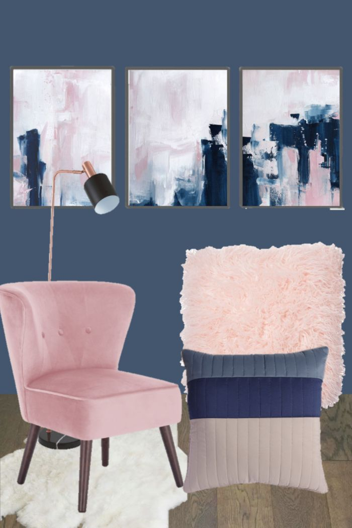 navy blue and pink bedroom inspiration