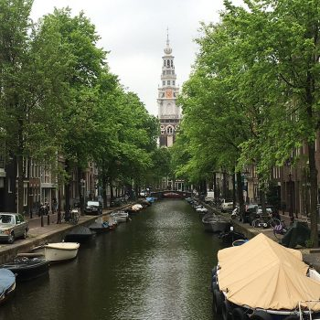 Amsterdam river clock tower