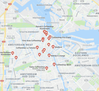 map of coffeeshops in amsterdam