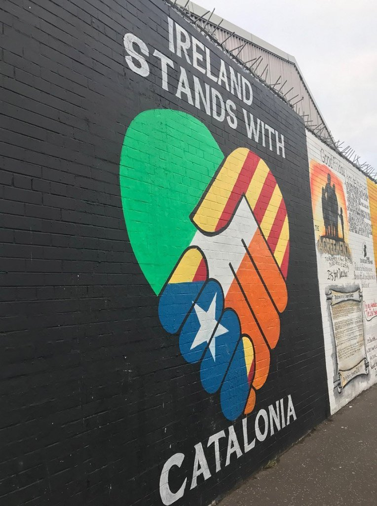 The peace walls in Northern Ireland.