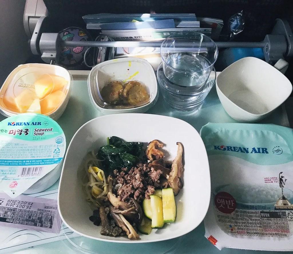 food on flight to korea