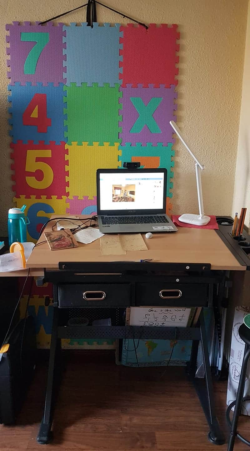 Amanda's work station while teaching during a pandemic.