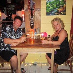 Ed and his wife before traveling to Belize City from Caye Caulker