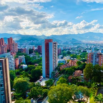 View of Medellin, Colombia from a balcony