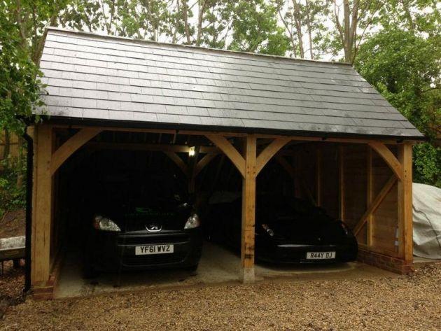 Traditional Oak Framed 2bay Carport  Dreamscape