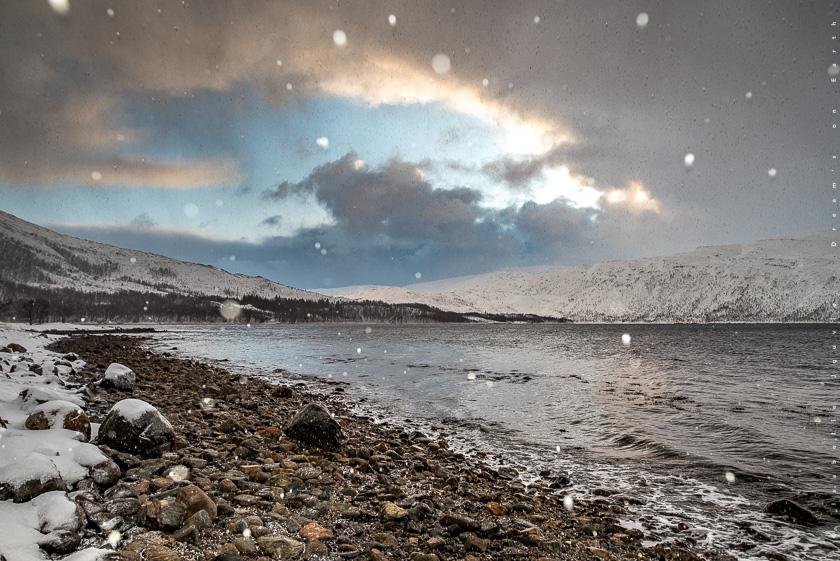 neige océan senja tromso hiver Norvège fjord