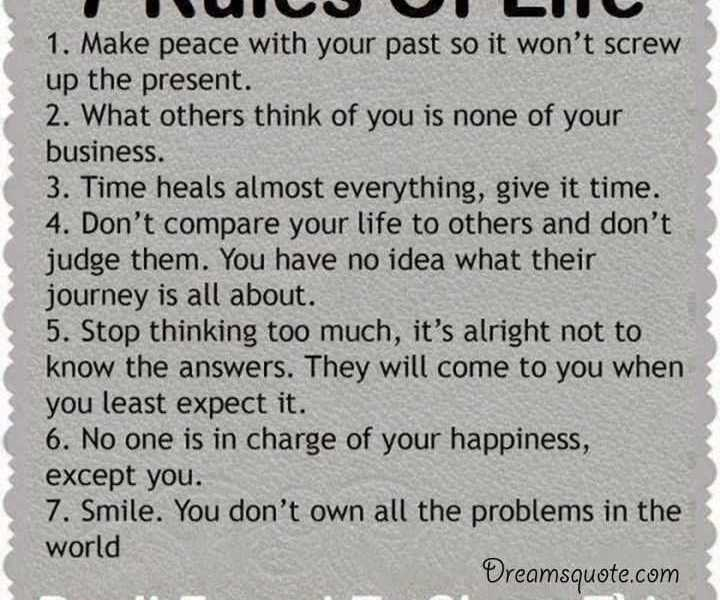 Positive Quotes About Life ' The 7 Rules Of Life, Deep