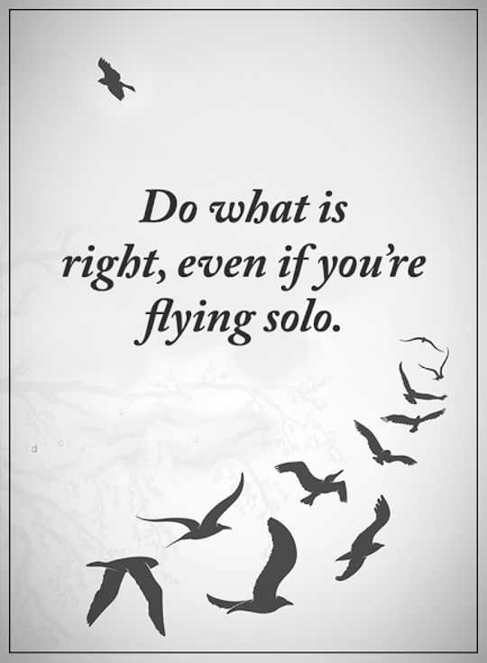 Best Inspirational Quotes: Life Sayings Do What Is Right, Flying Solo