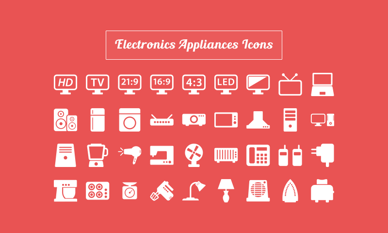 Free Download 40 Electronic Appliances Icons