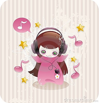 CARTOON LITTLE GIRL LISTENING TO MUSIC (click image to zoom)