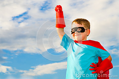 Child Pretending To Be A Superhero Royalty Free Stock Images - Image: 25193639
