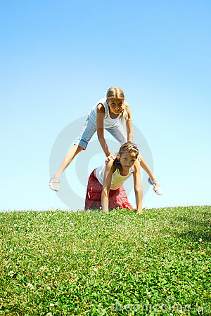 Children Playing Leapfrog