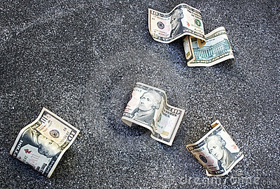 Money On The Ground Royalty Free Stock Images