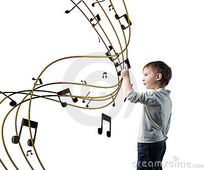Little Kid with Music Notes