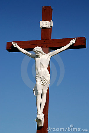 Statue Of Jesus Christ On Wood Cross