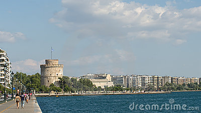 White Tower And Skyline Of Thessalonika City