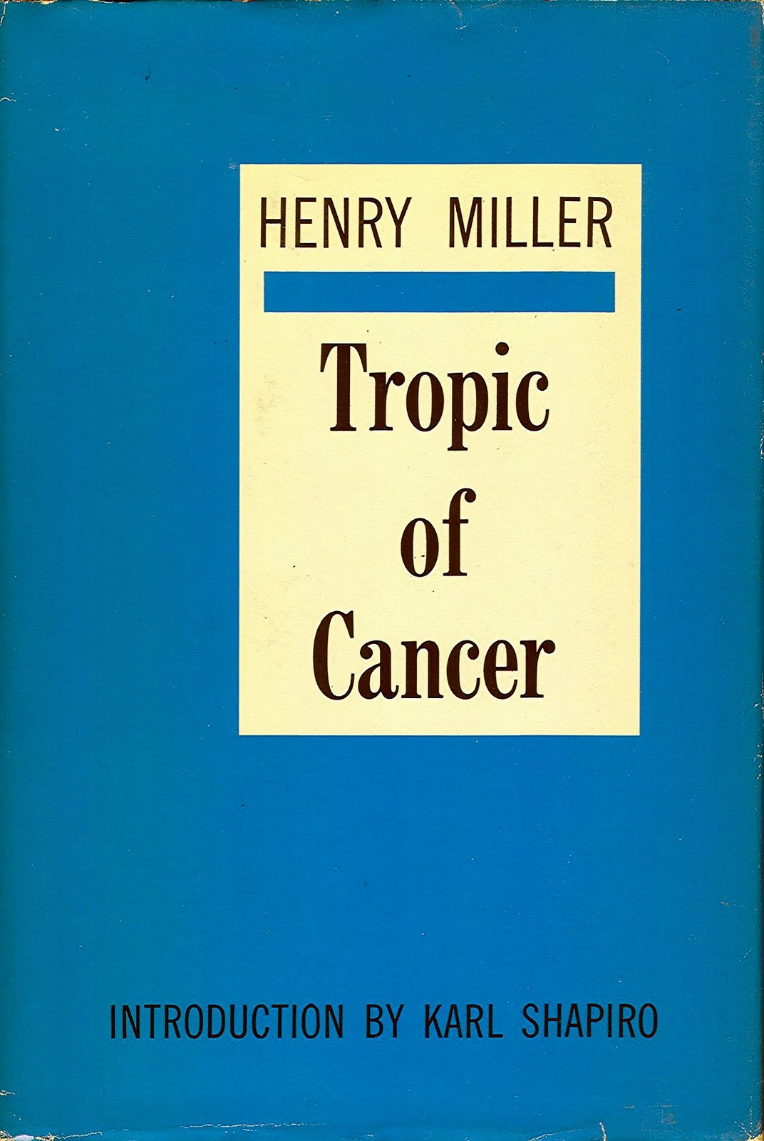 Tropic of Cancer by Henry Miller book jacket