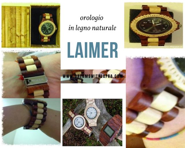 Laimer - Orologi da polso in legno naturale per donna e uomo