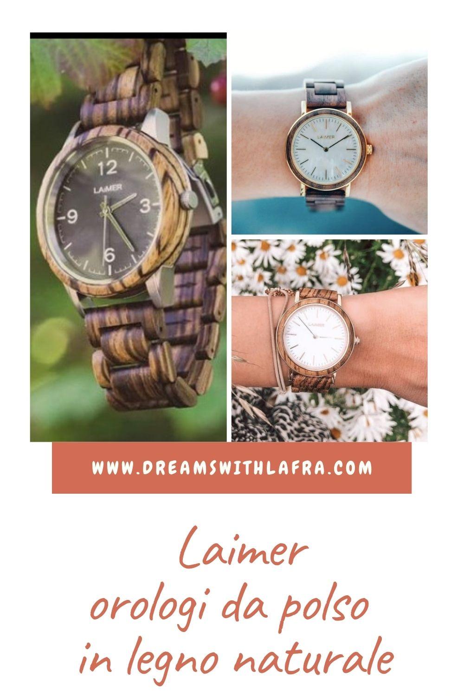Laimer orologi da polso in legno naturale per donna e uomo