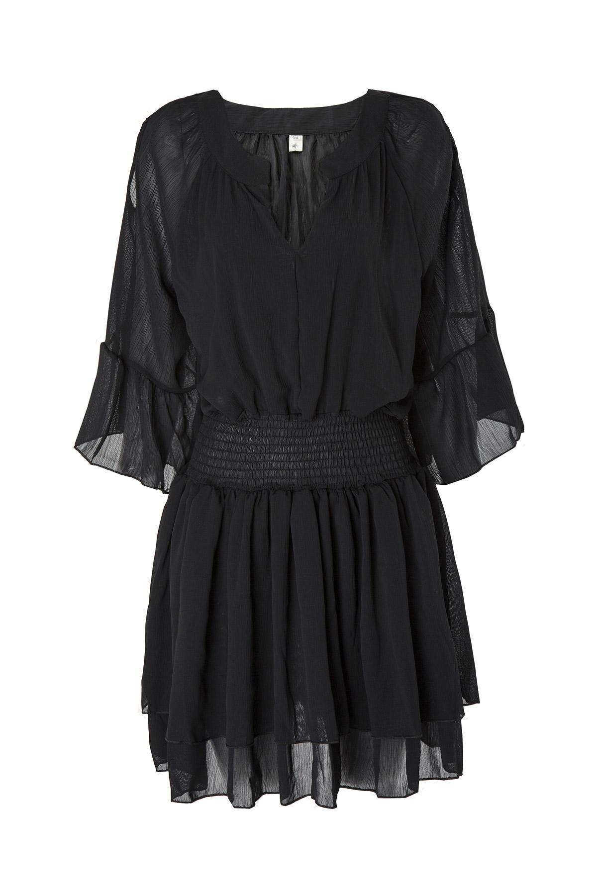 FLARE SLEEVE LAYERED CHIFFON DRESS