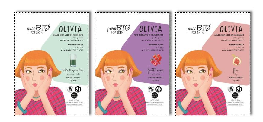 Olivia maschera viso Peel Off per Pelli Grasse
