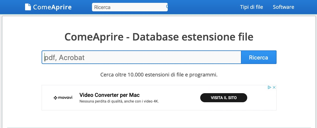 ComeAprire Database estensione file