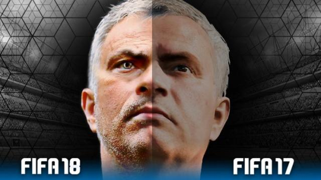 Our graphics team have knocked up what a FIFA 18 Jose Mourinho could look like compared with the FIFA 17 version