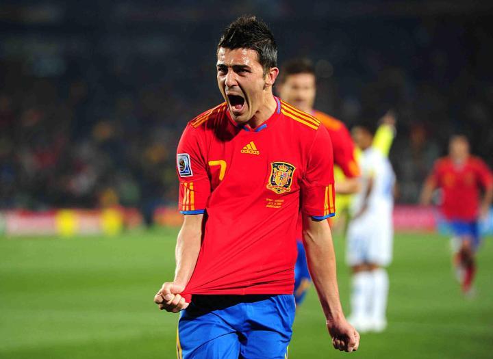David Villa con la maglia della Spagna | Numerosette Magazine