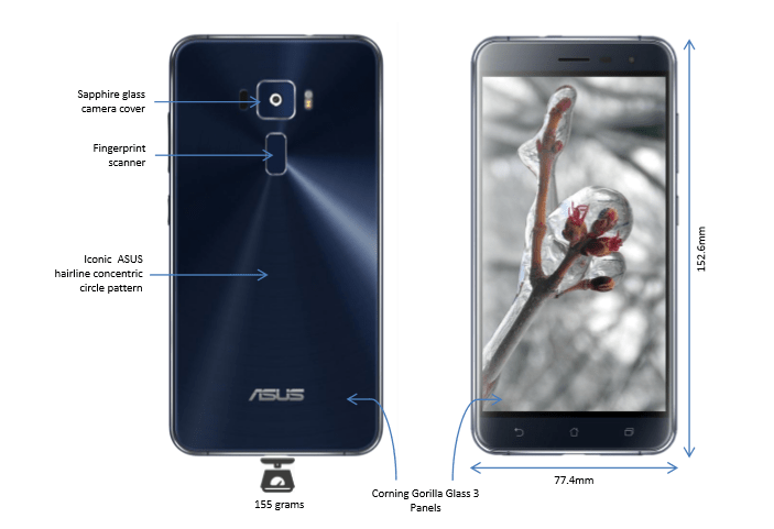 Zenfone 3 Design Details - Front and rear Gorilla Glass 3 panels